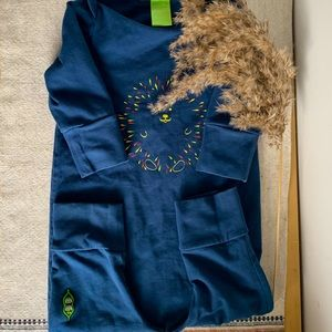 Peekaboo beans blue lion jumpsuit